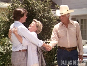 Barbara Bel Geddes, Dallas, David Ackroyd, Gary Ewing, Jim Davis, Jock Ewing, Miss Ellie Ewing, Reunion Part 1