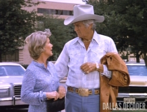 Barbara Bel Geddes, Dallas, Jim Davis, Jock Ewing. Miss Ellie Ewing, No More Mr. Nice Guy Part 1, Who Shot J.R.?