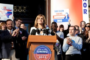 Sue Ellen is the latest Ewing to hit the hustings. (Photo credit: Bill Matlock/TNT)