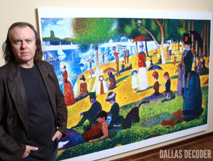 "Kevin Page with one of his creations: a re-imagined version of Georges Seurat's ""Sunday Afternoon on the Island of La Grande Jatte"""