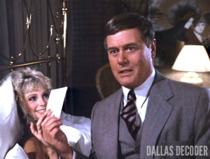 Dallas, J.R. Ewing, Larry Hagman, Serena, Stephanie Blackmore, Where There's a Will