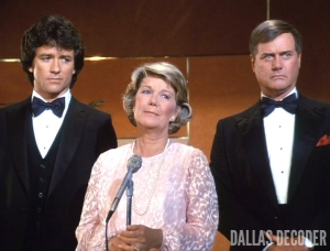 Barbara Bel Geddes, Bobby Ewing, Big Ball, Dallas, J.R. Ewing, Larry Hagman, Miss Ellie Ewing, Patrick Duffy