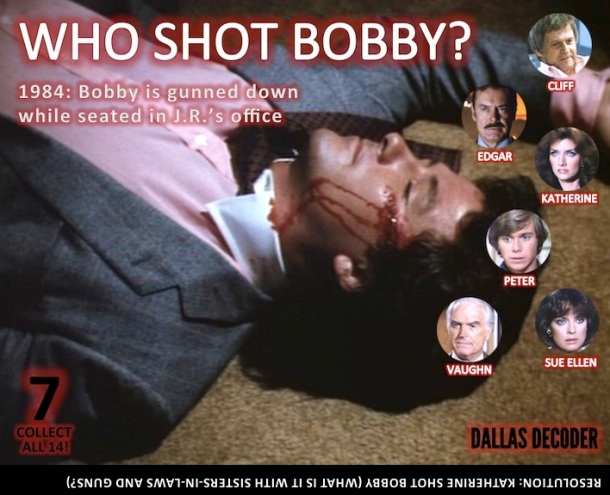 Bobby Ewing, Christopher Atkins, Cliff Barnes, Dallas, Dennis Patrick, Edgar Randolph, Katherine Wentworth, Ken Kercheval, Linda Gray, Martin E. Brooks, Morgan Brittany, Patrick Duffy, Peter Richards, Sue Ellen Ewing, Vaughn Leland
