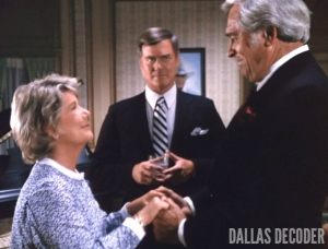 Barbara Bel Geddes, Clayton Farlow, Dallas, Howard Keel, J.R. Ewing, Larry Hagman, Miss Ellie Ewing, Past Imperfect