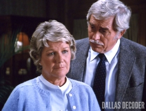 Barbara Bel Geddes, Clayton Farlow, Dallas, Eye of the Beholder, Howard Keel, Miss Ellie Ewing
