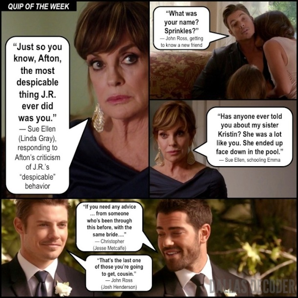 Christopher Ewing, Dallas, Jesse Metcalfe, John Ross Ewing, Josh Henderson, Lifting the Veil, Linda Gray, Sue Ellen Ewing, TNT