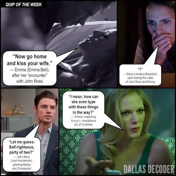 Dallas, Elena Ramos, Emma Bell, Emma Ryland, John Ross Ewing, Jordana Brewster, Josh Henderson, Like Father Like Son, TNT