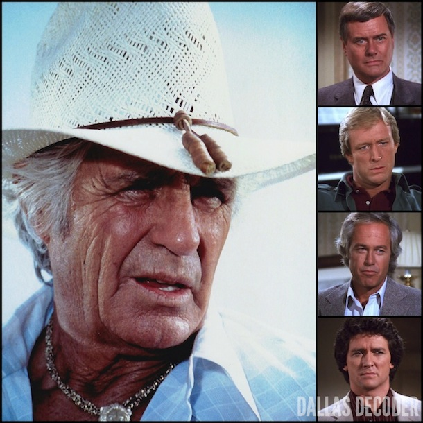 Bobby Ewing, Dallas, Gary Ewing, JIm Davis, Jock Ewing, J.R. Ewing, Larry Hagman, Patrick Duffy, Ray Krebbs, Steve Kanaly, Ted Shackelford