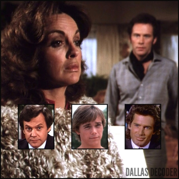 Christopher Atkins, Cliff Barnes, Dusty Farlow, Jack Scalia, Jared Martin, Ken Kercheval, Linda Gray, Nicolas Pearce, Peter Richards, Sue Ellen Ewing