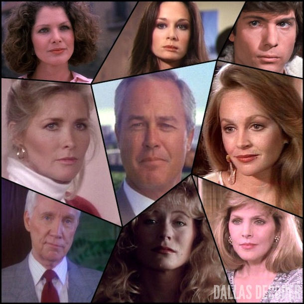 April Stevens Ewing, Charlene Tilton, Dallas, Donna Krebbs, Holly Harwood, Jenna Wade, Jeremy Wendell, Kristin Shepard, Lucy Ewing, Lois Chiles, Mary Crosby, Mickey Trotter, Priscilla Beaulieu Presley, Ray Krebbs, Sheree J. Wilson, Steve Kanaly, Susan Howard, Timothy Patrick Murphy, William Smithers