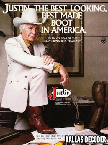 Dallas, Jim Davis, Jock Ewing, Justin boots