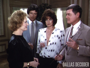 Alexis Smith, Bobby Ewing, Dallas, J.R. Ewing, Lady Jessica Montford, Larry Hagman, Linda Gray, Patrick Duffy, Sue Ellen Ewing, Unexpected