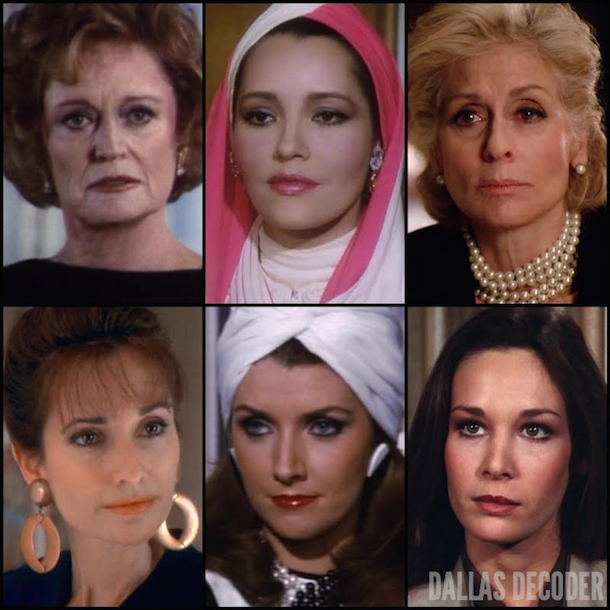 Alexis Smith, Angelica Nero, Barbara Carrera, Dallas, Hillary Taylor, Jessica Farlow Montford, Judith Light, Katherine Wentworth, Kristin Shepard, Mary Crosby, Morgan Brittany, Sheila Foley, Susan Lucci, TNT