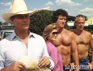 Bobby Ewing, Dallas, Family, Jenna Wade, J.R. Ewing, Larry Hagman, Patrick Duffy, Priscilla Beaulieu Presley, Ray Krebbs, Steve Kanaly