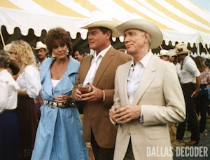 Barbecue Five, Dallas, Jeremy Wendell, J.R. Ewing, Larry Hagman, Linda Gray, Sue Ellen Ewing, William Smithers