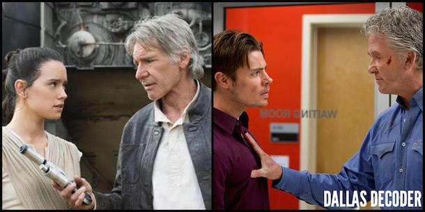 Bobby Ewing, Dallas, Daisy Ridley, Han Solo, Harrison Ford, John Ross Ewing, Josh Henderson, Patrick Duffy, Rey, Star Wars