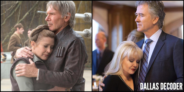 Bobby Ewing, Carrie Fisher, Charlene Tilton, Dallas, Han Solo, Harrison Ford, Leia Organa, Patrick Duffy, Star Wars,