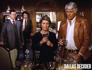 Barbara Bel Geddes, Bobby Ewing, Dallas, Jim Davis, Jock Ewing, J.R. Ewing, Larry Hagman, Miss Ellie Ewing, Patrick Duffy
