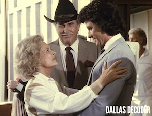 Bobby Ewing, Clayton Farlow, Dallas, Donna Reed, Howard Keel, Miss Ellie Ewing Farlow, Patrick Duffy